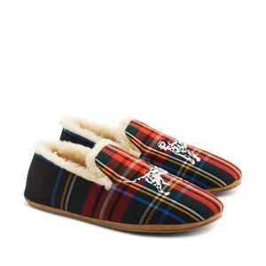 J. Crew Embroidered Loafer Slippers In Tartan Dog